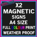 X2 A4 SIZE PERSONALISED MAGNETIC FULL COLOUR PRINT BUSINESS CAR VAN SIGNS